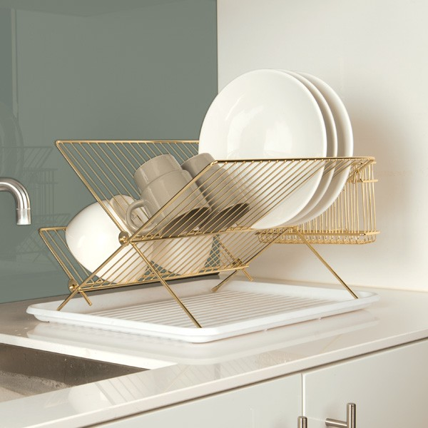 & Gold Wire Dish Rack - Red Candy