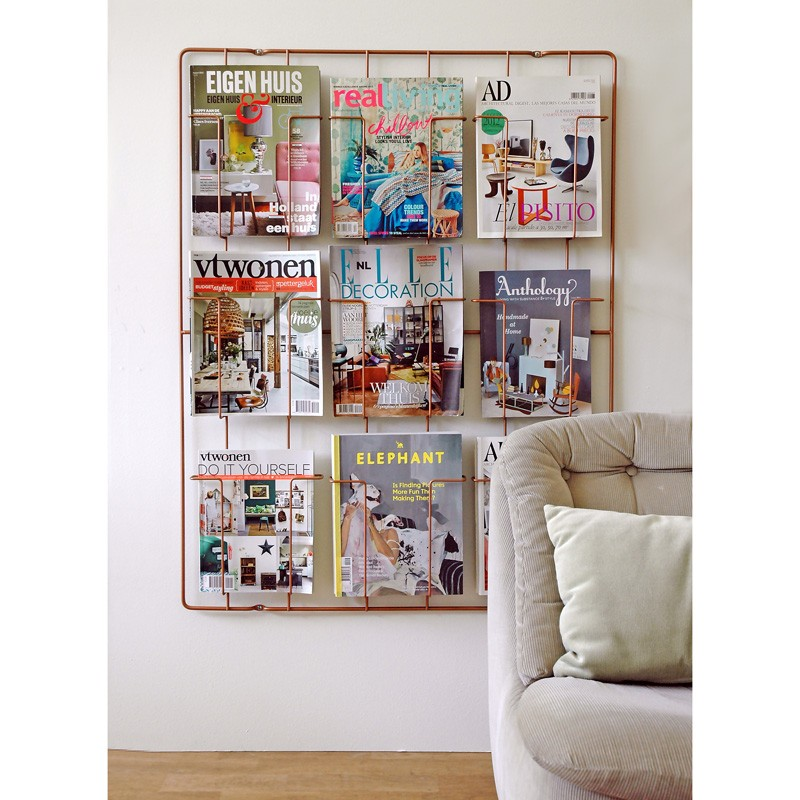 Frame9 Magazine Rack Copper wall mounted magazine display
