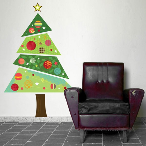 Large fabric christmas tree wall sticker festive wall decor - Christmas wall decorations ...