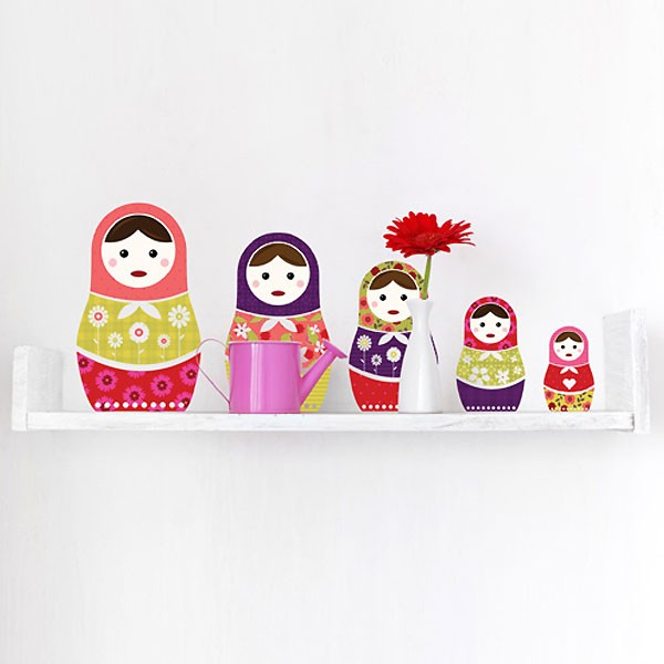 Russian Dolls Wall Sticker Set - colourful matryoshka dolls