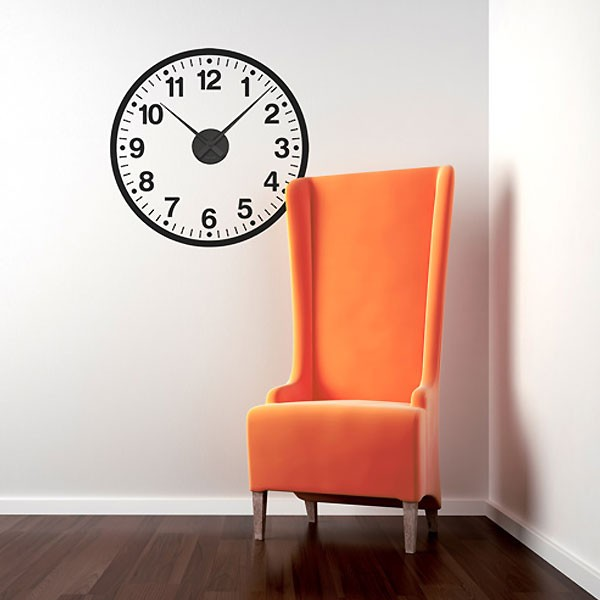 Stylish Numbers Wall Clock Sticker - classic clock wall decor