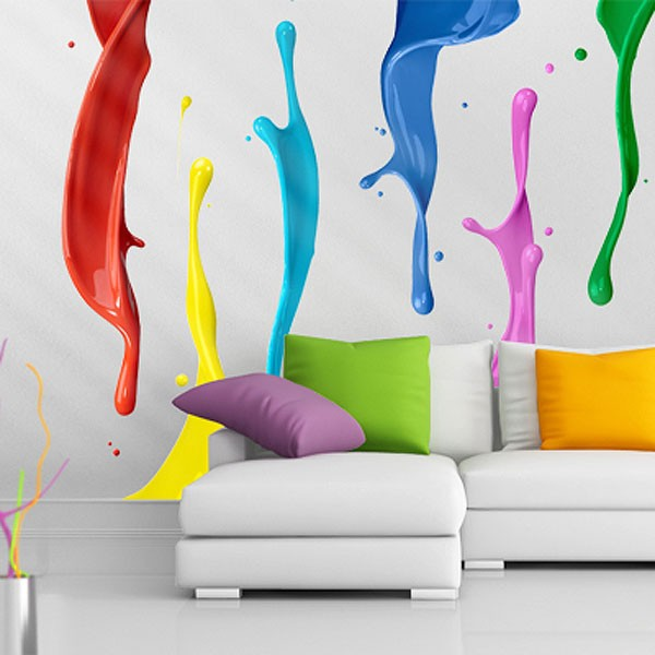 Colour splash wall sticker set large colourful stickers for Color splash wall art