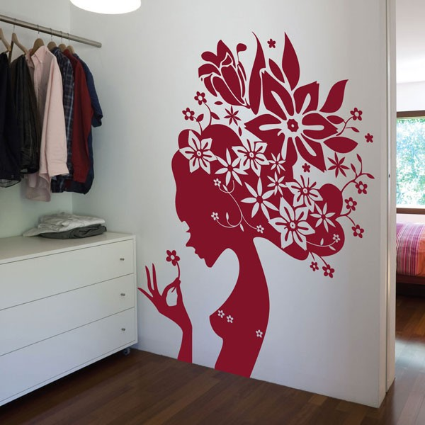 large flower girl wall sticker giant designer flower beautiful face wall decal lips wall decals wall decal