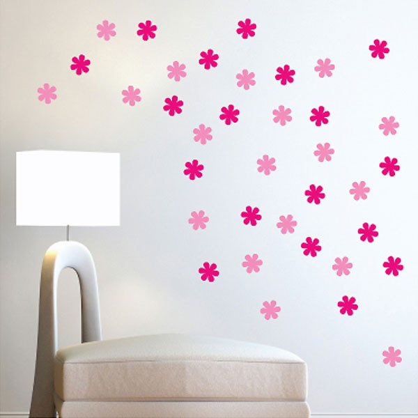 Flower wall stickers red candy
