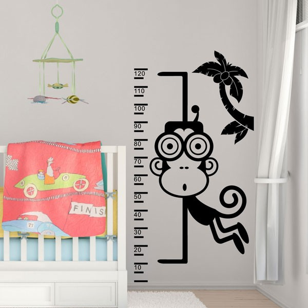 Monkey height chart wall sticker red candy