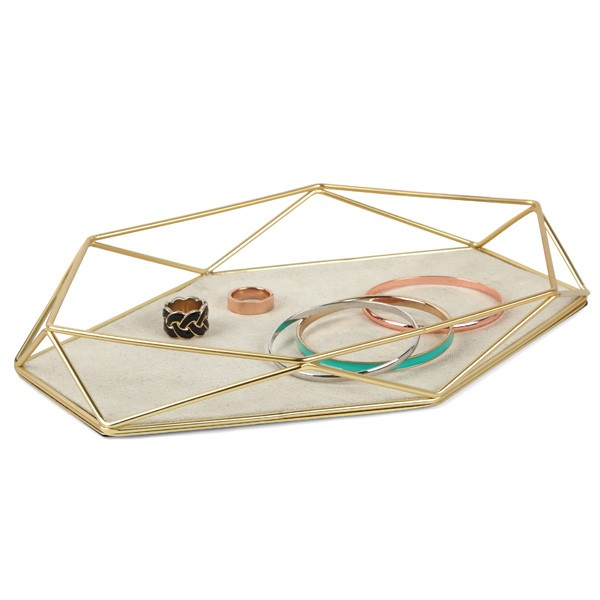 Umbra Prisma Jewellery Tray Brass Red Candy