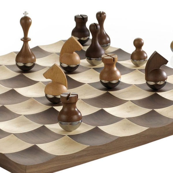 Umbra wobble chess set designer wooden chess set - Umbra chess set ...