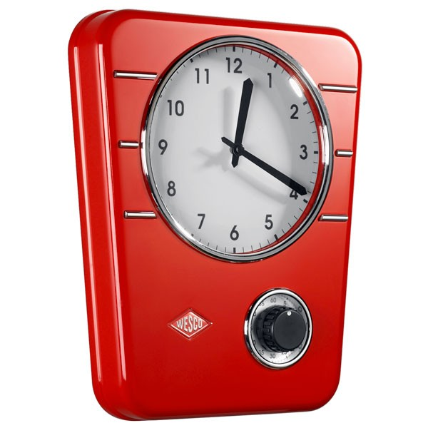 Wesco Classic Line Kitchen Clock   Red   Retro Clock With Timer