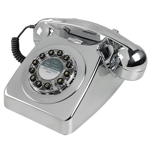 wild and wolf 746 phone chrome brushed retro style telephone. Black Bedroom Furniture Sets. Home Design Ideas