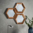 Hexagon Copper Wall Mirrors - Set of 3