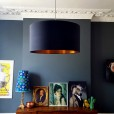 Cotton Lampshade - Jet Black & Brushed Copper