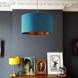 Indian Silk Lampshade - Duck Egg & Brushed Copper