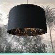 Silhouette Cotton Lampshade - Leopard in Jet Black