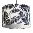 Black and White Tropical Leaf Lampshade - Silver