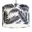 Black and White Tropical Leaf Lampshade - White