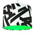 Monochrome Abstract Lampshade - Neon Green