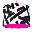 Monochrome Abstract Lampshade - Neon Pink