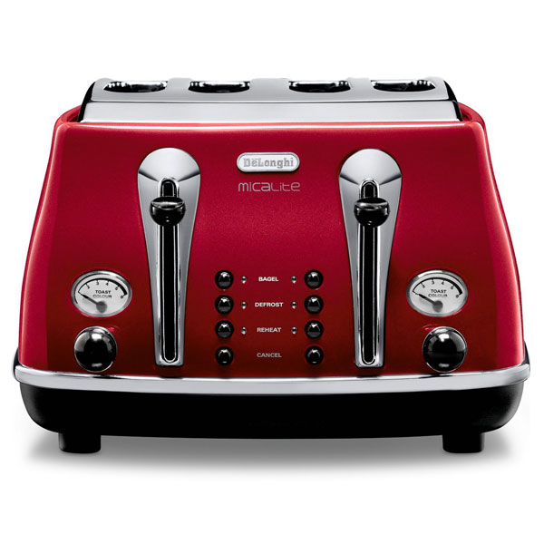 DeLonghi Icona Micalite Toaster  Pearlescent Red