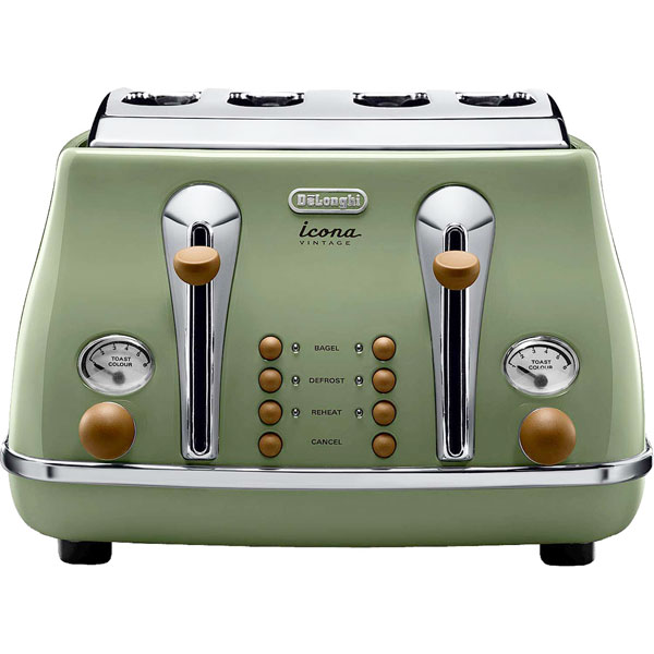 DeLonghi Icona Vintage Toaster  Olive Green Gloss