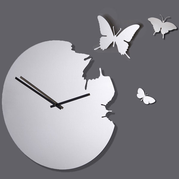 Butterfly Clock Stainless Steel