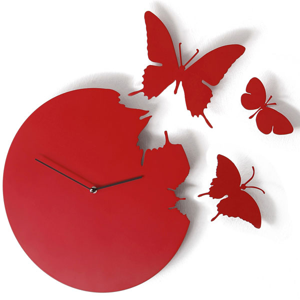 Butterfly Clock Red