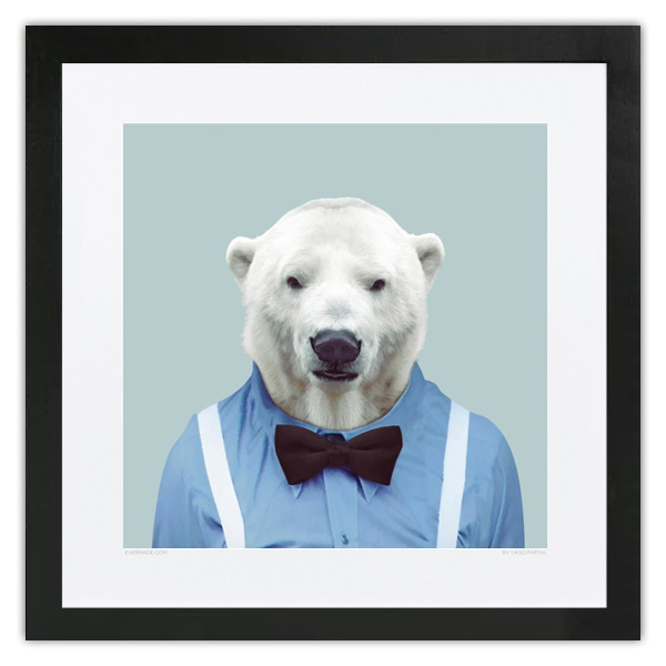 Evermade Zoo Portrait Framed Print - Polar Bear