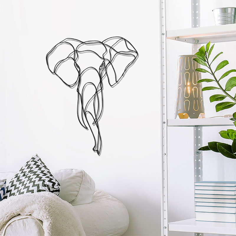 Mini Elephant Head Wooden Wall Art