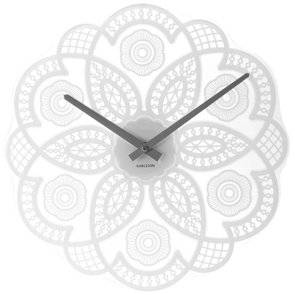 Karlsson Lace Cut Out Glass Clock  White