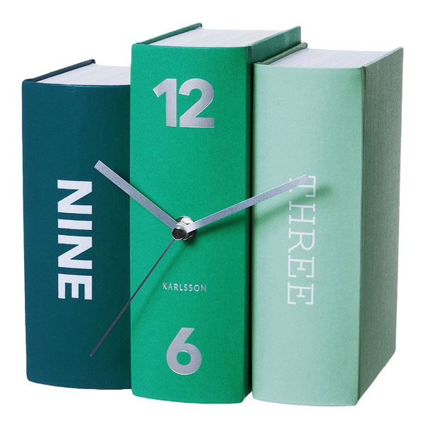 Karlsson Table Clock Book  Emerald