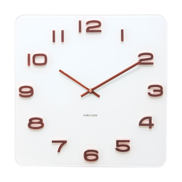 Karlsson Vintage Square Glass Clock  White and Copper