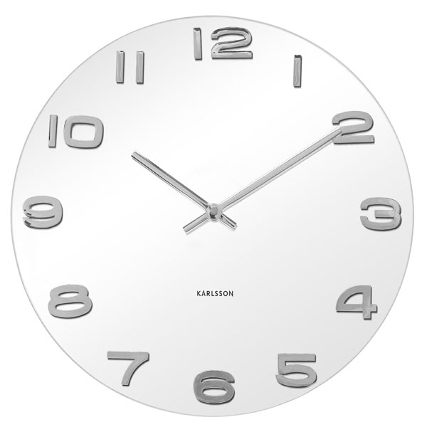 Vintage Round Glass Wall Clock  White