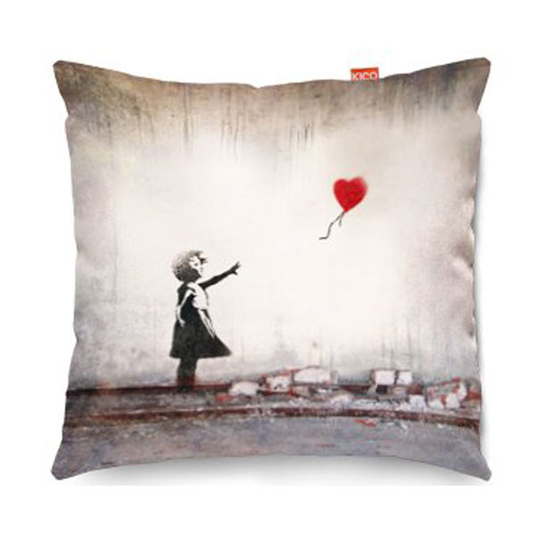Banksy Heart Balloon Sofa Cushion  2 Sizes
