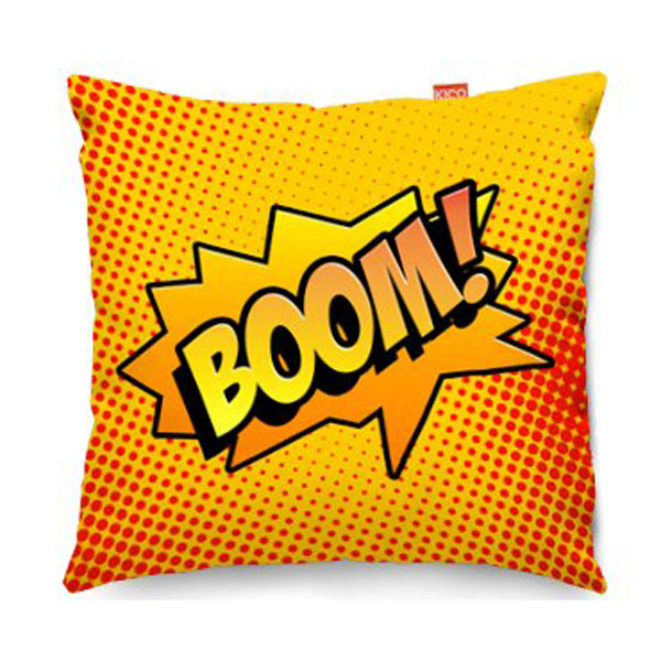 Comic Boom Orange Sofa Cushion  2 Sizes