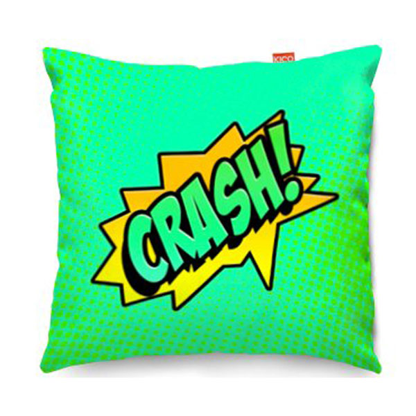 Comic Crash Green Sofa Cushion  2 Sizes