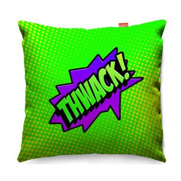 Comic Thwack Green Sofa Cushion  2 Sizes