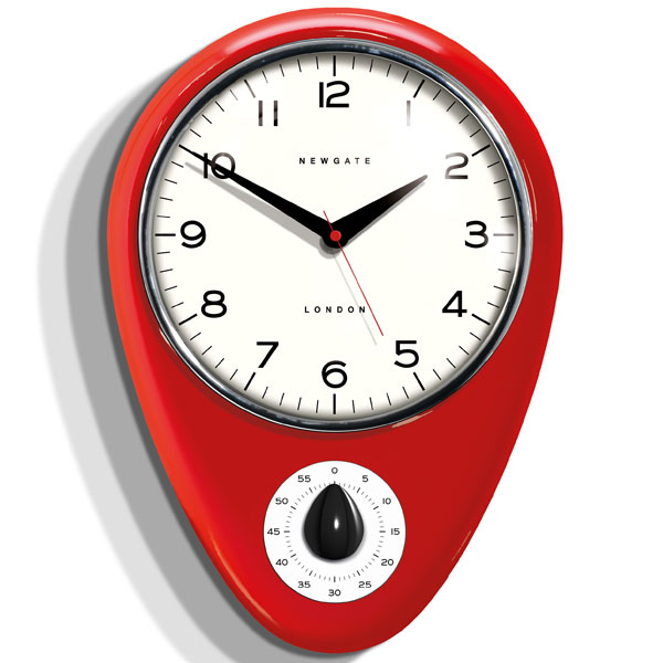 Newgate Discovery Kitchen Timer Clock  Fire Engine Red