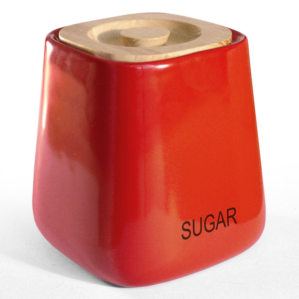 Cubic Red Sugar Storage Jar