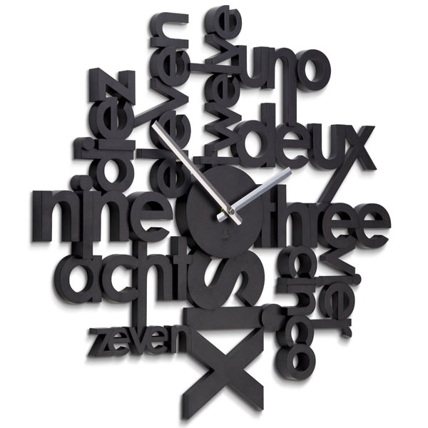 Umbra Lingua Black Wall Clock